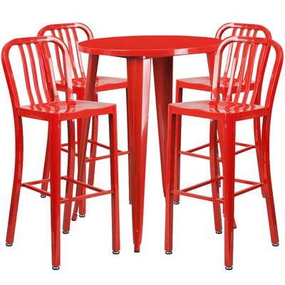 Starr Metal Indoor/Outdoor 5 Piece Bar Set Finish: Red