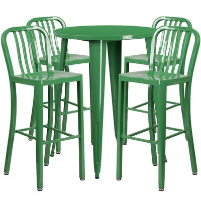 Metal Indoor/Outdoor 5 Piece Bar Set Finish: Green