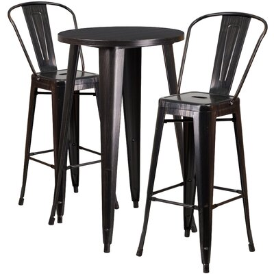Metal Indoor/Outdoor 3 Piece Bar Set Finish: Black/Antique Gold