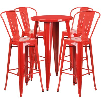 Metal Indoor/Outdoor 5 Piece Bar Set Finish: Red