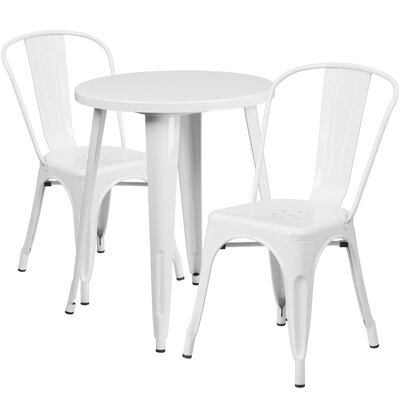 Metal Indoor/Outdoor 3 Piece Bistro Set Finish: White