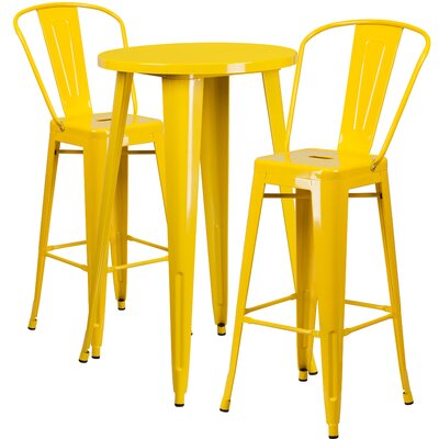 Metal Indoor/Outdoor 3 Piece Bar Set Finish: Yellow