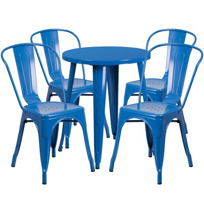 Metal Indoor/Outdoor 5 Piece Dining Set Finish: Blue