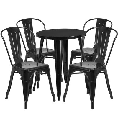 Metal Indoor/Outdoor 5 Piece Dining Set Finish: Black