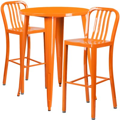 Metal Indoor/Outdoor 3 Piece Bar Set Finish: Orange