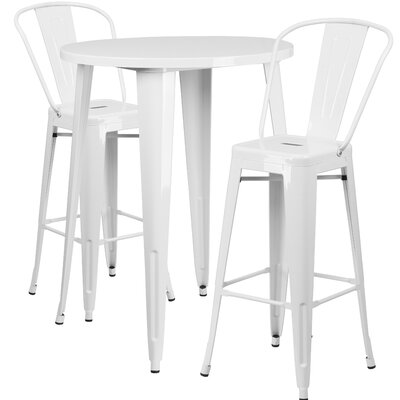 Metal Indoor/Outdoor 3 Piece Bar Set Finish: White