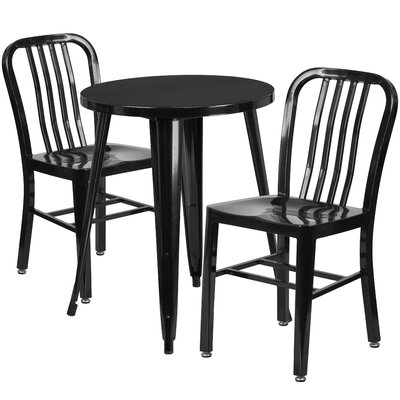 Metal Indoor/Outdoor 3 Piece Bistro Set Finish: Black