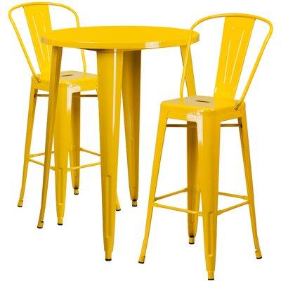 Metal Indoor/Outdoor 3 Piece Bar Set Finish: Yellow