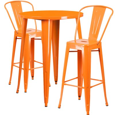 Austell Metal Indoor/Outdoor 3 Piece Bar Set Finish: Orange