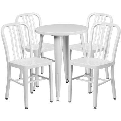 Metal Indoor/Outdoor 5 Piece Dining Set Finish: White