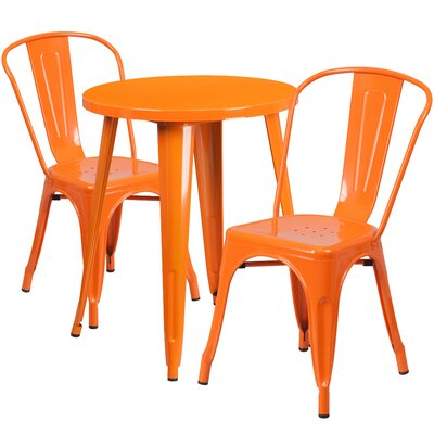 Metal Indoor/Outdoor 3 Piece Bistro Set Finish: Orange