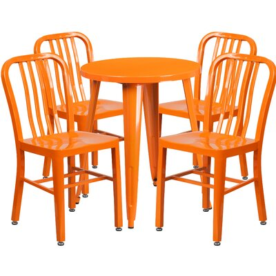 Metal Indoor/Outdoor 5 Piece Dining Set Finish: Orange