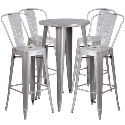 Metal Indoor/Outdoor 5 Piece Bar Set Finish: Silver