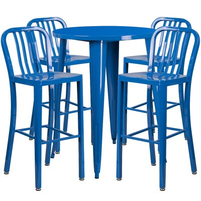 Metal Indoor/Outdoor 5 Piece Bar Set Finish: Blue