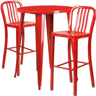 Avera Metal Indoor/Outdoor 3 Piece Bar Set Finish: Red