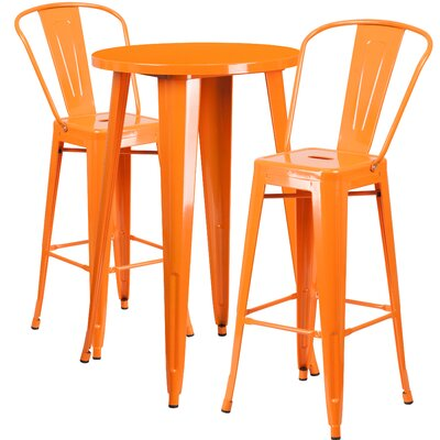 Sumter Metal Indoor/Outdoor 3 Piece Bar Set Finish: Orange
