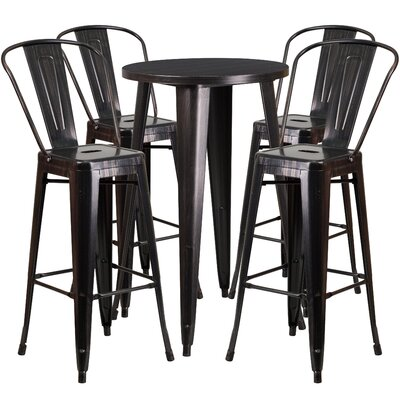 Metal Indoor/Outdoor 5 Piece Bar Set Finish: Black/Antique Gold
