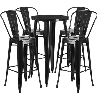 Metal Indoor/Outdoor 5 Piece Bar Set Finish: Black