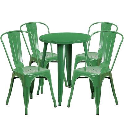 Metal Indoor/Outdoor 5 Piece Dining Set Finish: Green