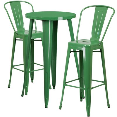 Metal Indoor/Outdoor 3 Piece Bar Set Finish: Green