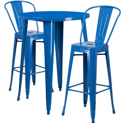 Metal Indoor/Outdoor 3 Piece Bar Set Finish: Blue