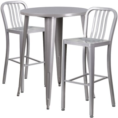 Metal Indoor/Outdoor 3 Piece Bar Set Finish: Silver