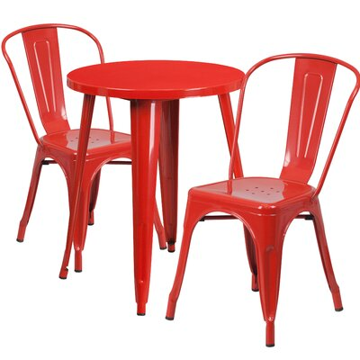 Metal Indoor/Outdoor 3 Piece Bistro Set Finish: Red