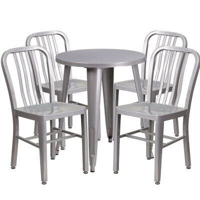 Metal Indoor/Outdoor 5 Piece Dining Set Finish: Silver