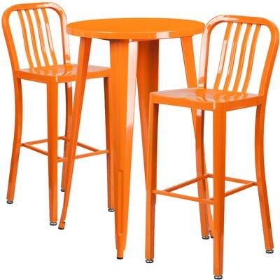 Metal Indoor/Outdoor 3 Piece Bar Set Finish: Orange
