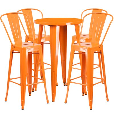 Williamston Metal Indoor/Outdoor 5 Piece Bar Set Finish: Orange