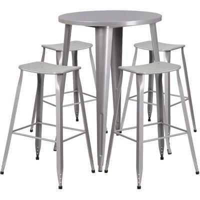 Backless Saddle Seat 5 Piece Bar Set Table Size: 24, Finish: Silver