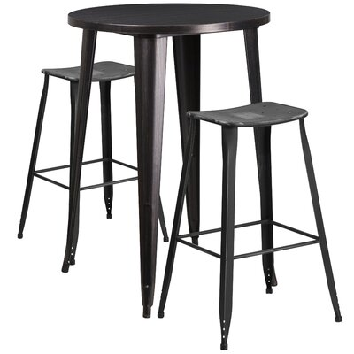 Backless Saddle Seat 3 Piece Bar Set Finish: Black, Table Size: 30