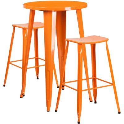 Backless Saddle Seat 3 Piece Bar Set Table Size: 24, Finish: Orange