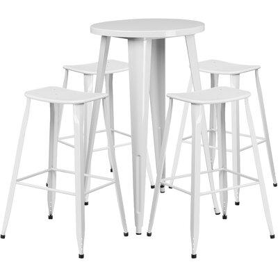 Backless Saddle Seat 5 Piece Bar Set Table Size: 24, Finish: White
