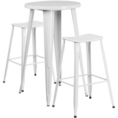 Backless Saddle Seat 3 Piece Bar Set Table Size: 24, Finish: White