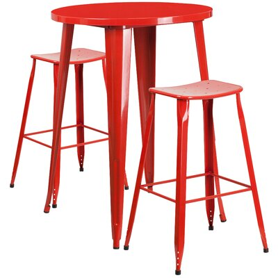 Backless Saddle Seat 3 Piece Bar Set Table Size: 24, Finish: Red