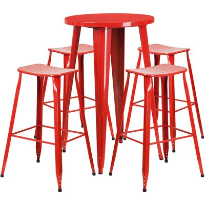 Backless Saddle Seat 5 Piece Bar Set Table Size: 24, Finish: Red