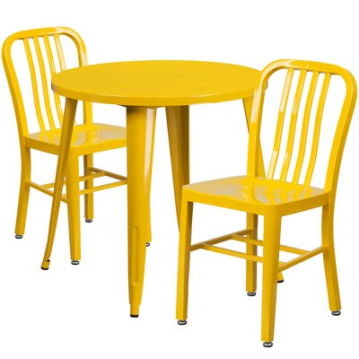 Metal Indoor/Outdoor 3 Piece Bistro Set Finish: Yellow