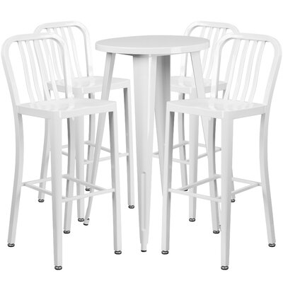 Metal Indoor/Outdoor 5 Piece Bar Set Finish: White