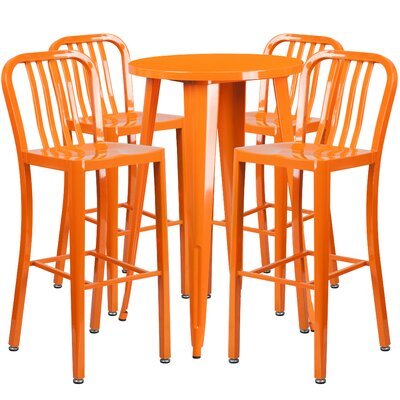 Metal Indoor/Outdoor 5 Piece Bar Set Finish: Orange