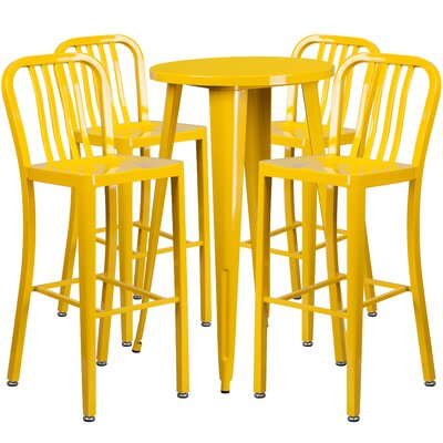 Metal Indoor/Outdoor 5 Piece Bar Set Finish: Yellow