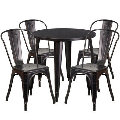 Metal Indoor/Outdoor 5 Piece Dining Set Finish: Black/Antique Gold