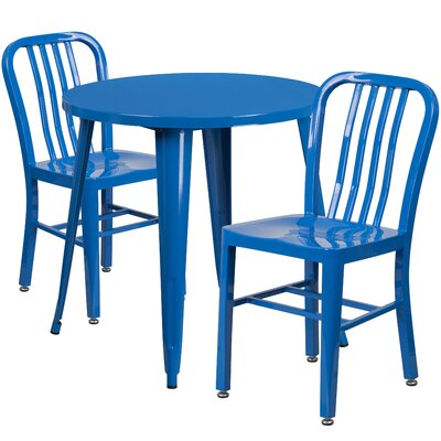 Metal Indoor/Outdoor 3 Piece Bistro Set Finish: Blue