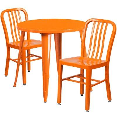 Metal Indoor/Outdoor 3 Piece Bistro Set Finish: Orange