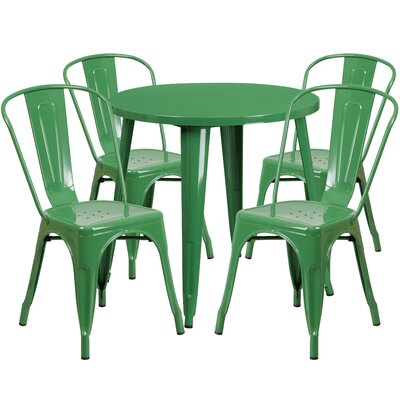 Metal Indoor/Outdoor 5 Piece Dining Set Finish: Green