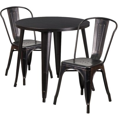 Metal Indoor/Outdoor 3 Piece Bistro Set Finish: Black/Antique Gold