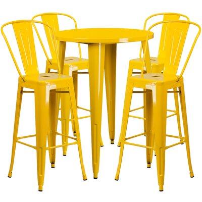 Metal Indoor/Outdoor 5 Piece Bar Set Finish: Yellow