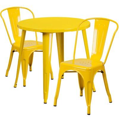 Metal Indoor/Outdoor 3 Piece Bistro Set Finish: Yellow