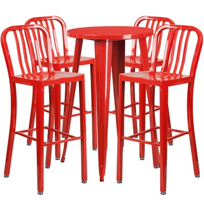 Metal Indoor/Outdoor 5 Piece Bar Set Finish: Red