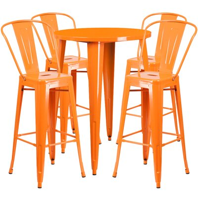 Bowdon Metal Indoor/Outdoor 5 Piece Bar Set Finish: Orange